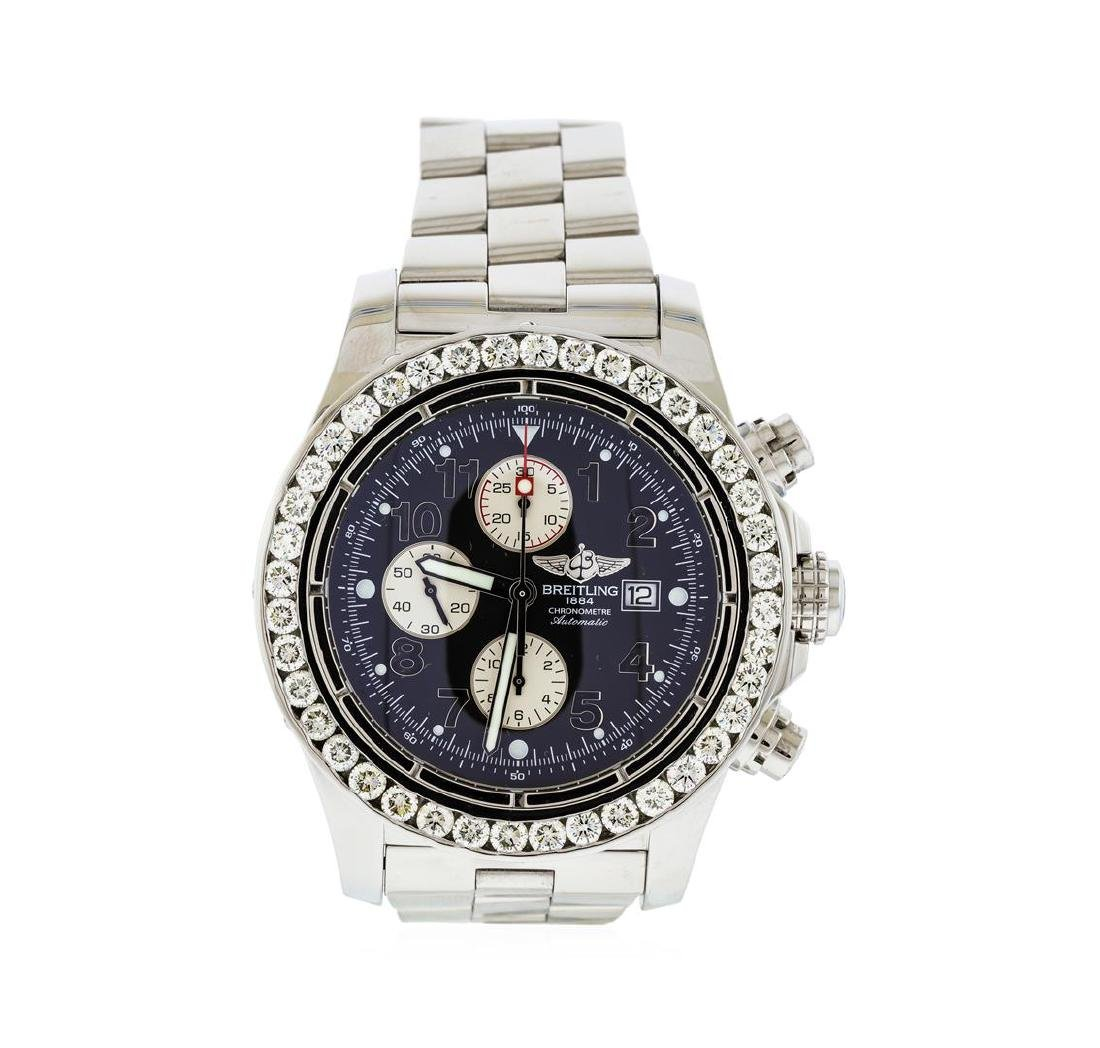 Breitling Stainless Steel 6.00 ctw Diamond Super