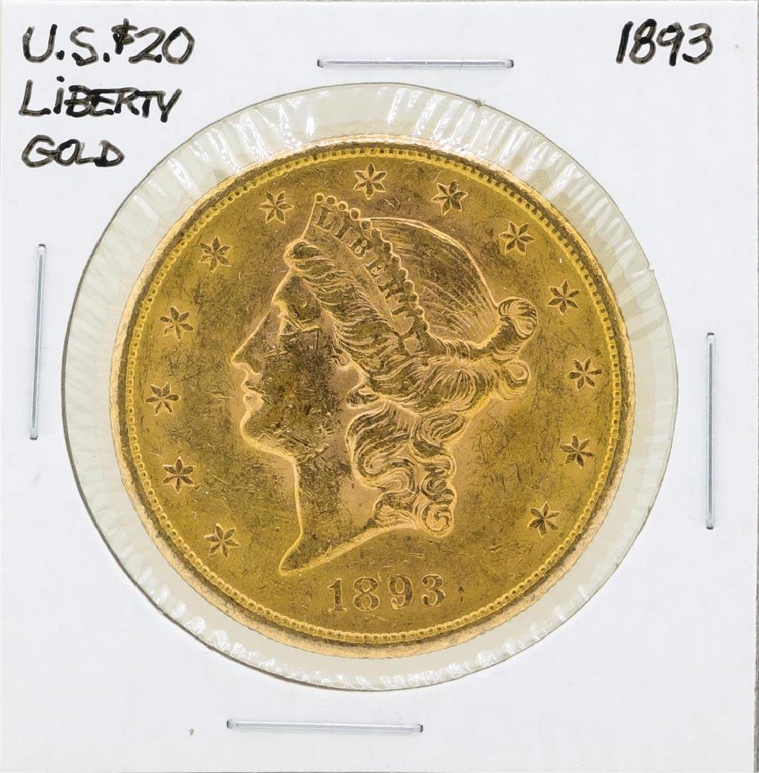 1893 $20 Liberty Double Eagle Gold Coin
