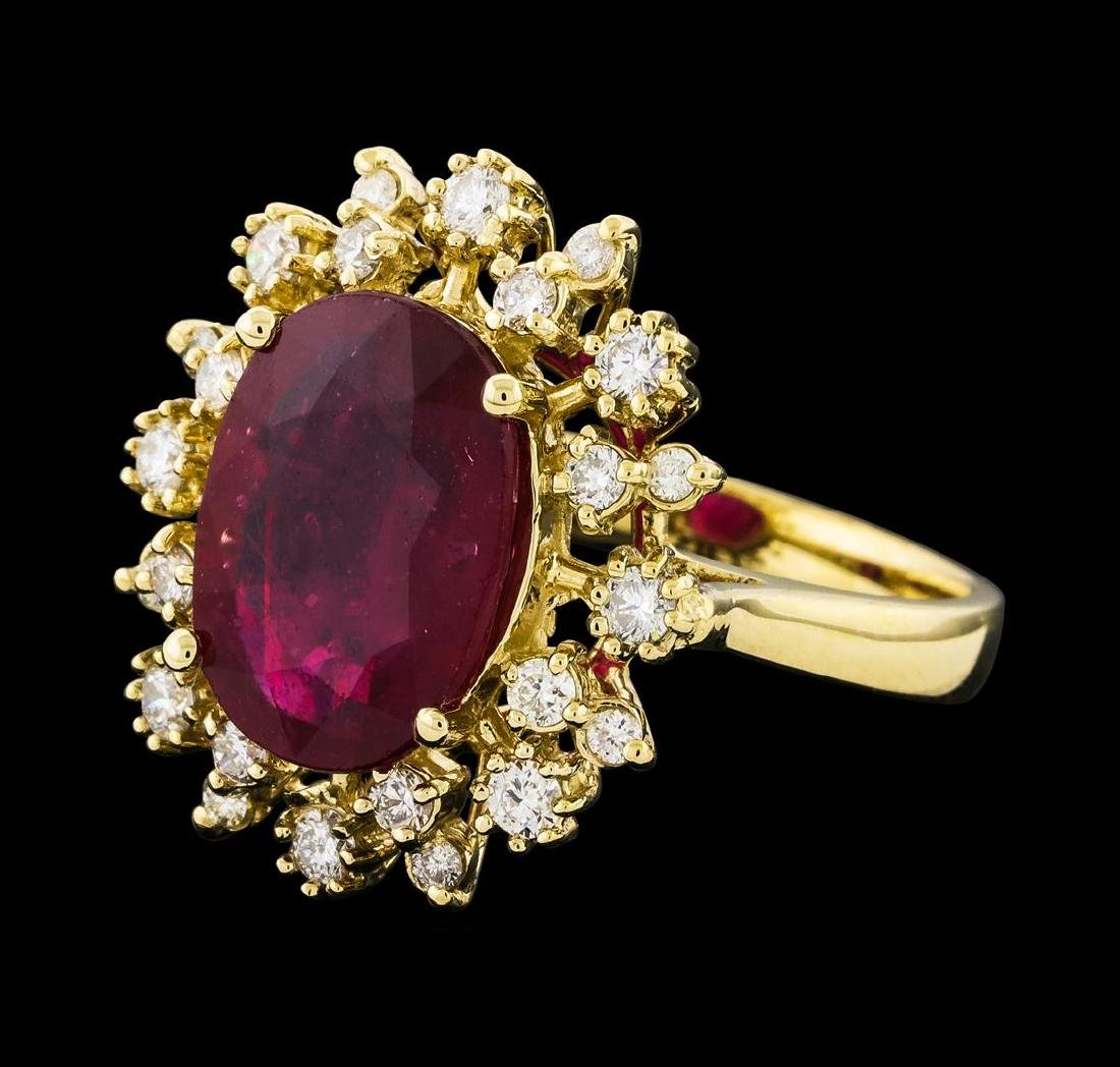 4.97 ctw Ruby and Diamond Ring - 14KT Yellow Gold