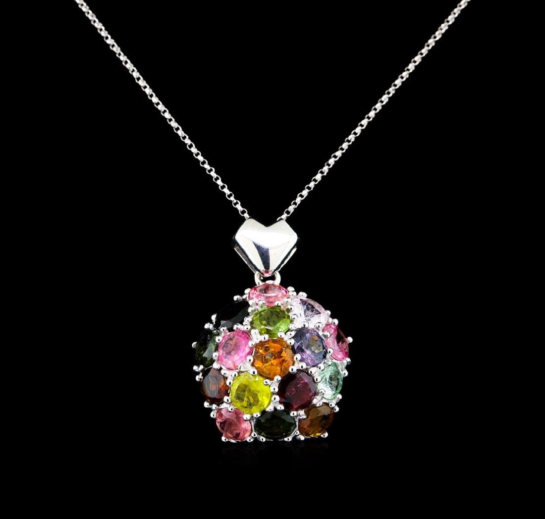 12.00 ctw Tourmaline Pendant with Chain - 14KT White