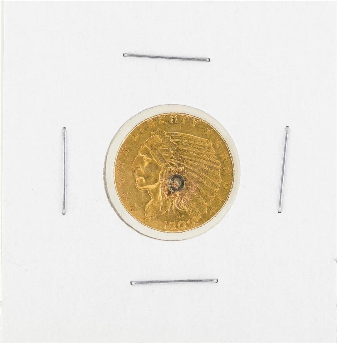1909 $2 1-2 Indian Head Gold Coin C