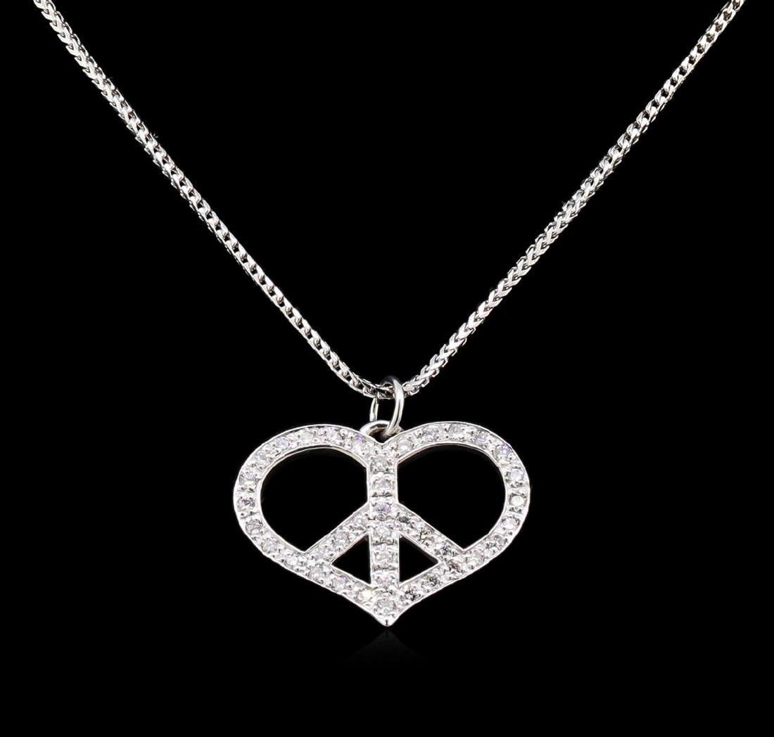 1.10 ctw Diamond Heart Pendant With Chain - 14KT White