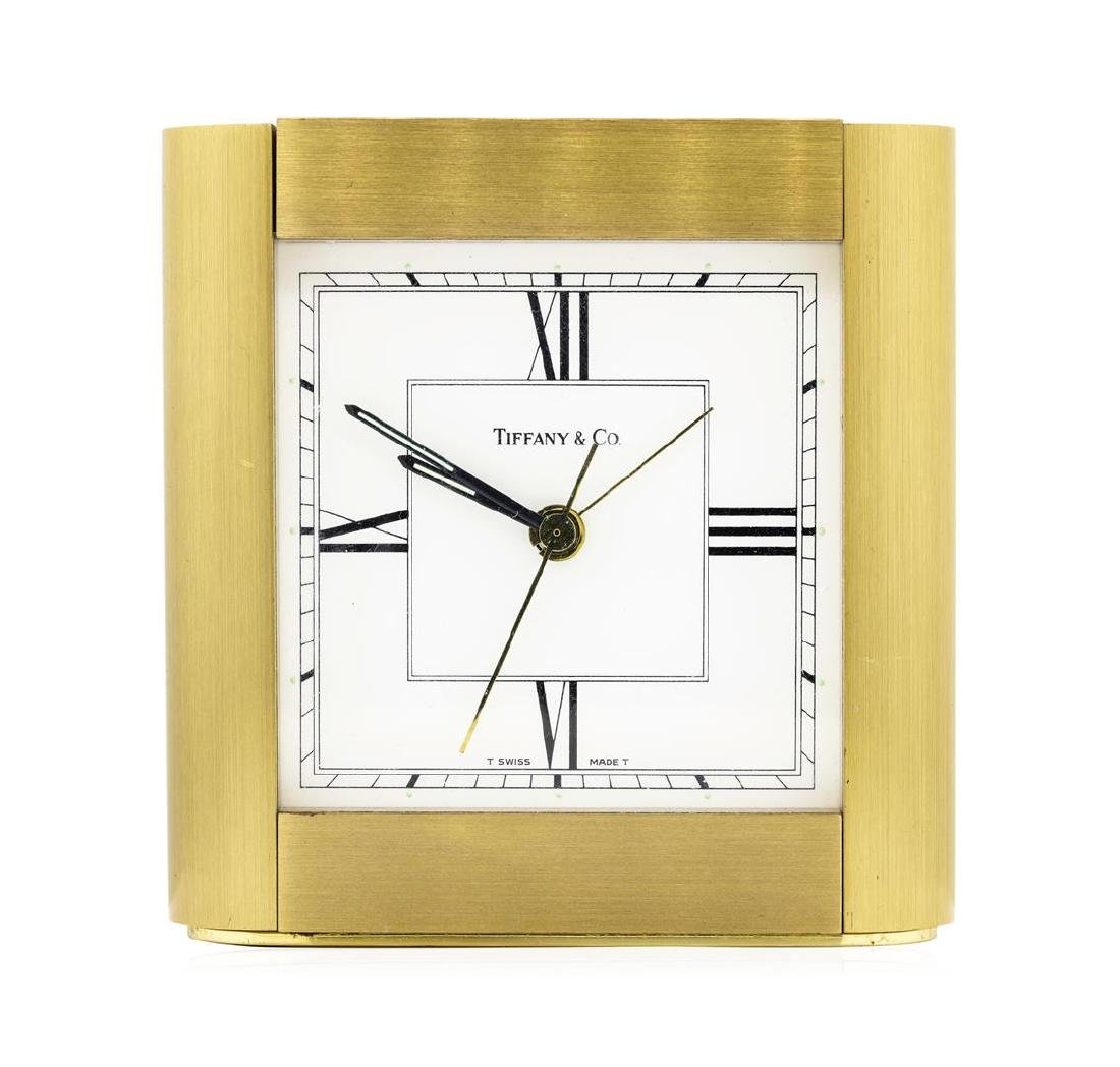 Tiffany & Company Swiss-Made Brass Desk Clock