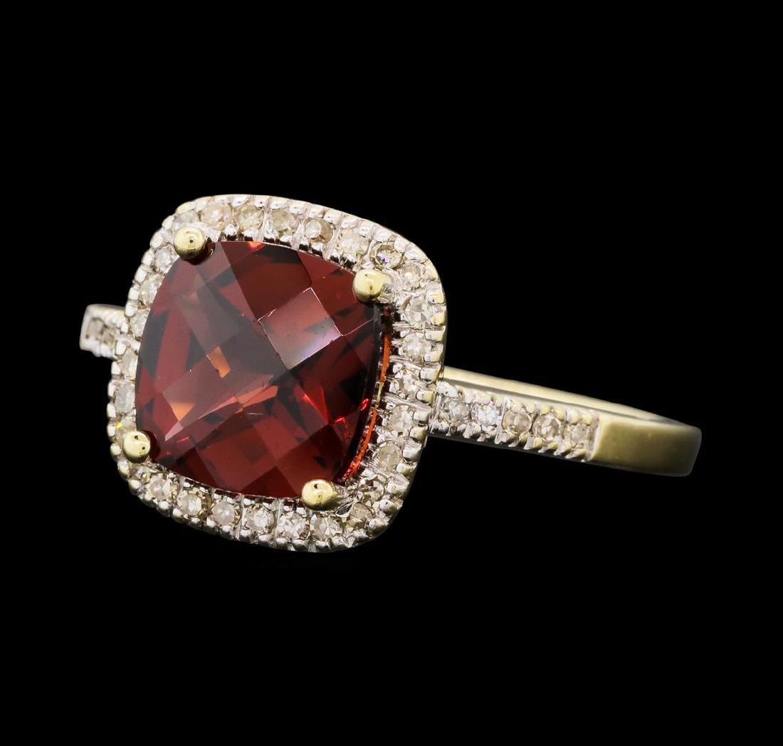 2.65 ctw Garnet And Diamond Ring - 10KT Yellow Gold