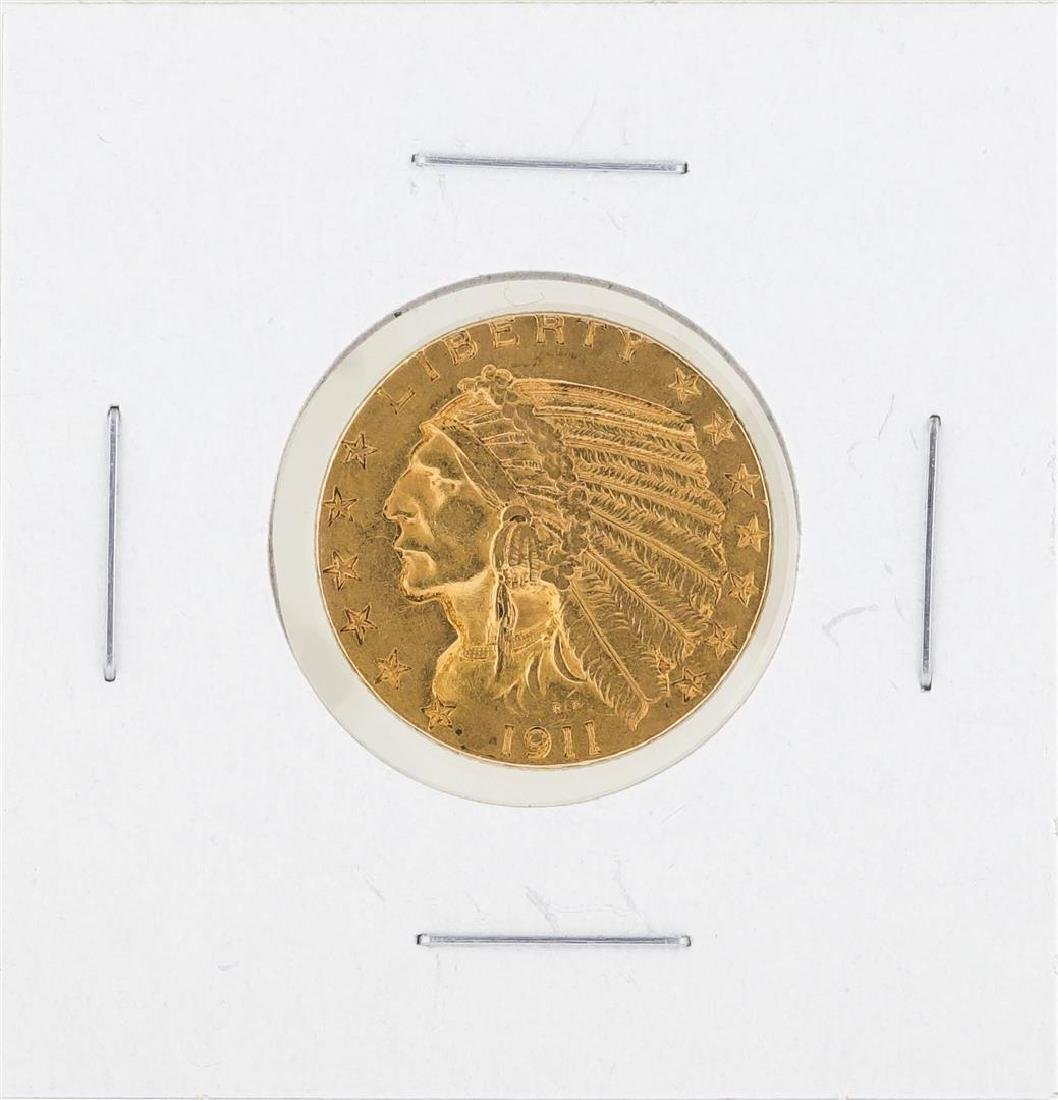 1911 $5 Indian Head Gold Coin XF