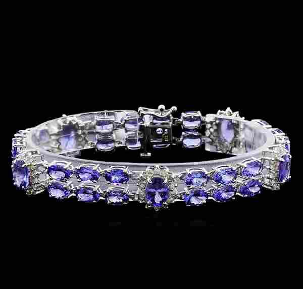 24.48 ctw Tanzanite and Diamond Bracelet - 14KT White