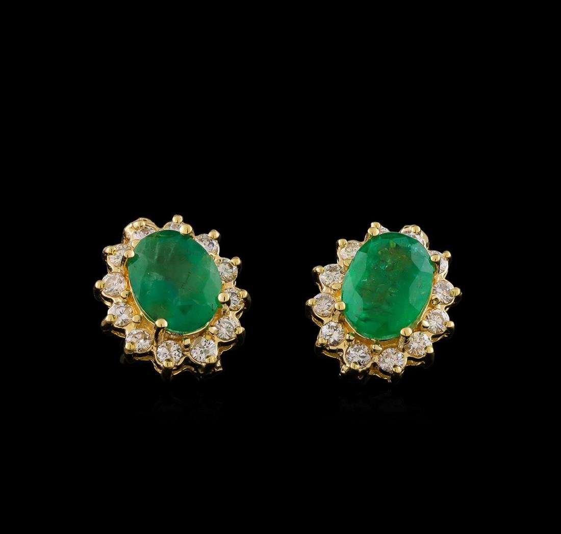 3.94 ctw Emerald and Diamond Earrings - 14KT Yellow