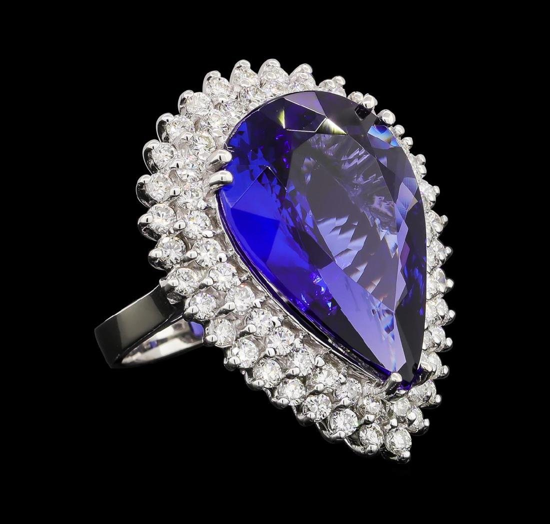 GIA Cert 17.33 ctw Tanzanite and Diamond Ring - 14KT
