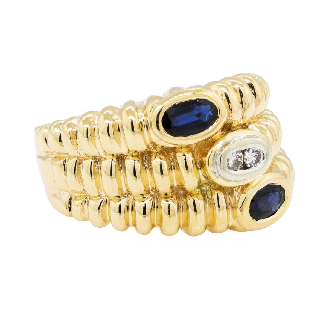 0.30 ctw Sapphire and Diamond Ring - 14KT Yellow Gold