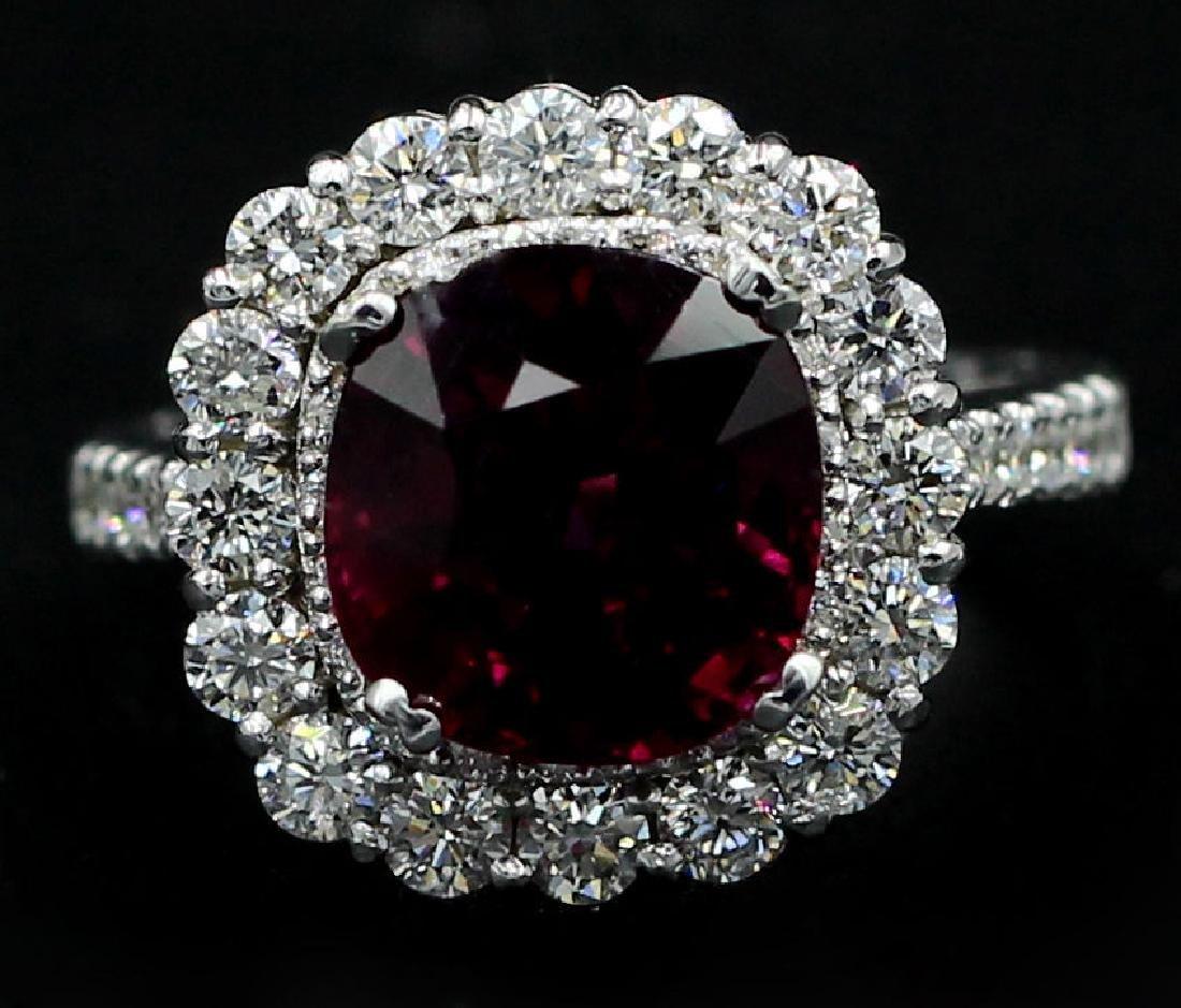 5.30 Carat Cushion Cut Rhodolite Anniversary Diamond