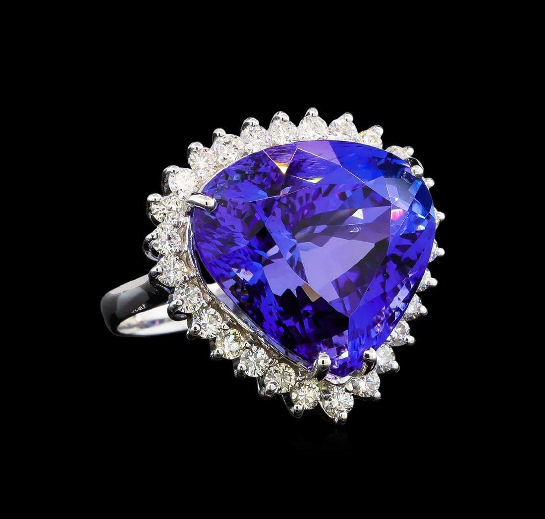 GIA Cert 28.94 ctw Tanzanite and Diamond Ring - 14KT