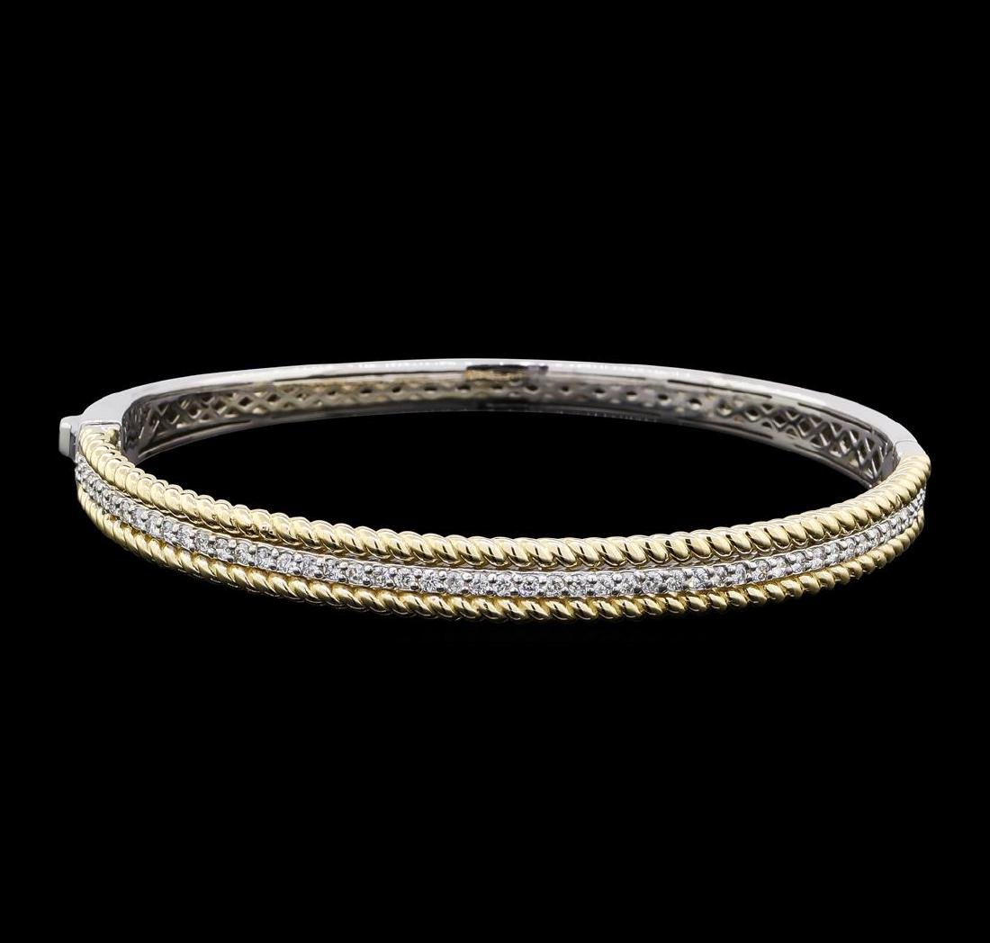 0.72 ctw Diamond Bangle Bracelet - 14KT White and