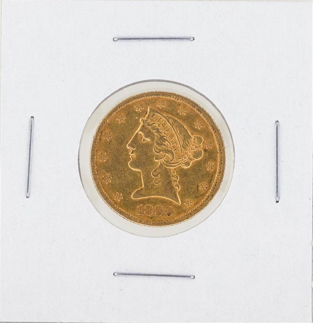 1880 $5 Liberty Gold Coin AU