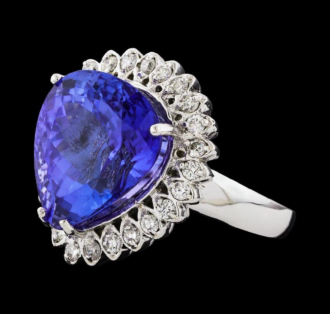 GIA Cert 13.48 ctw Tanzanite and Diamond Ring - 14KT