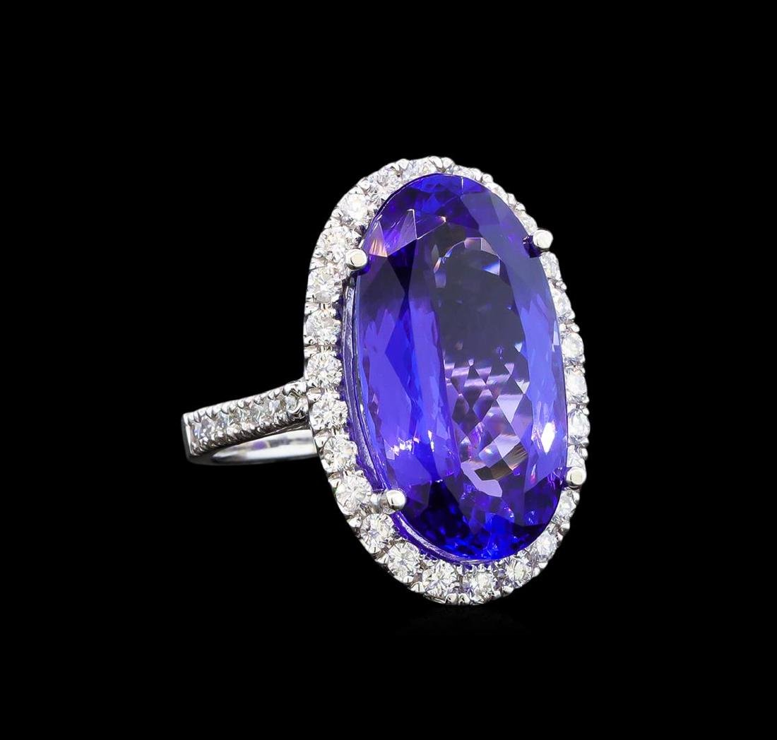 GIA Cert 14.53 ctw Tanzanite and Diamond Ring - 14KT