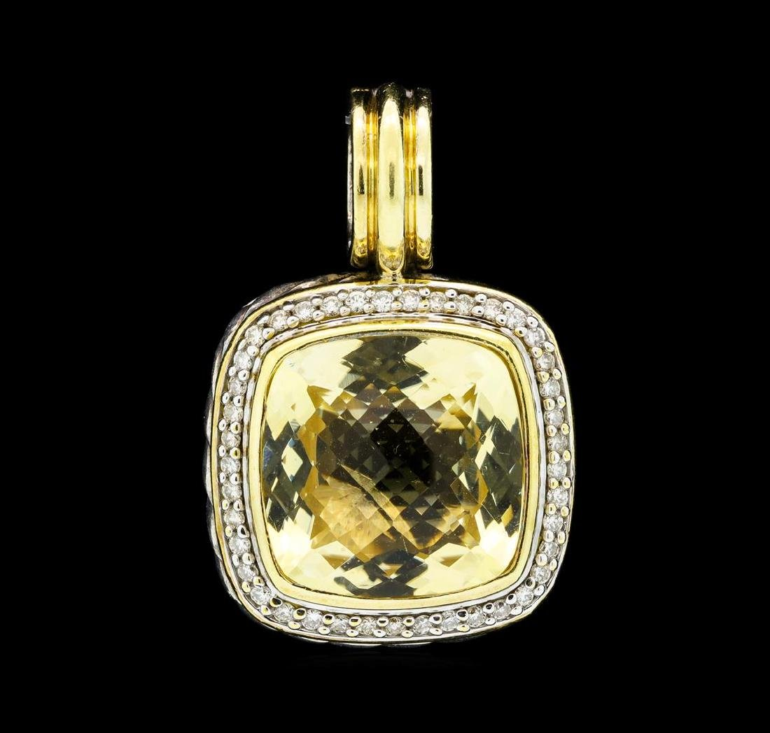 David Yurman Albion Citrine and Diamond Pave Pendant -