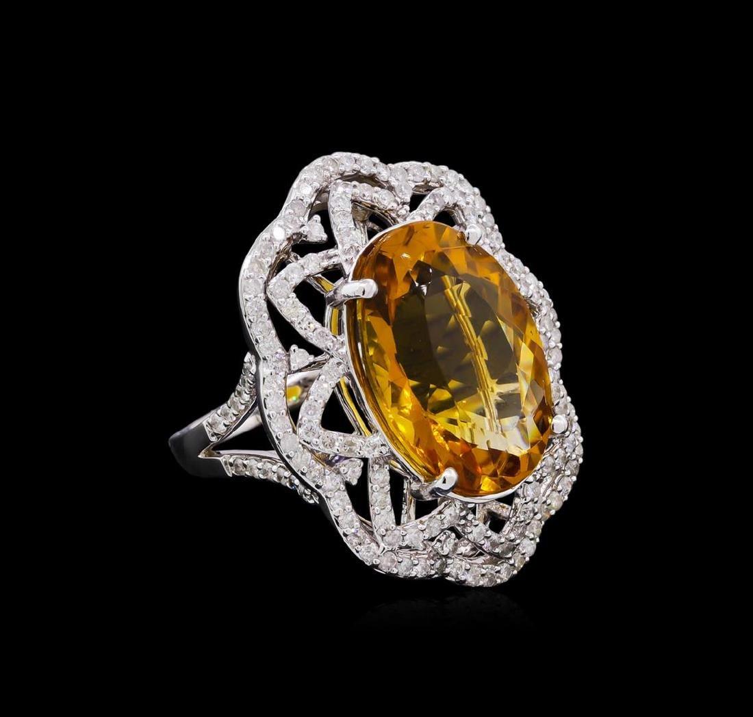 14KT White Gold 10.91 ctw Citrine and Diamond Ring