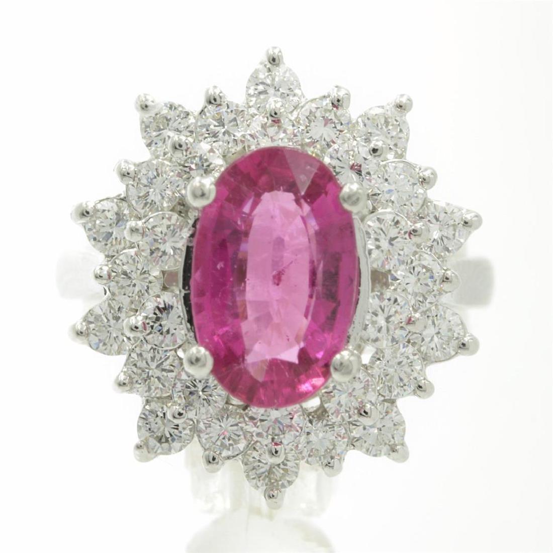 3.66 Carat Round Cut Rubellite Diamonds Oval Cut Flower
