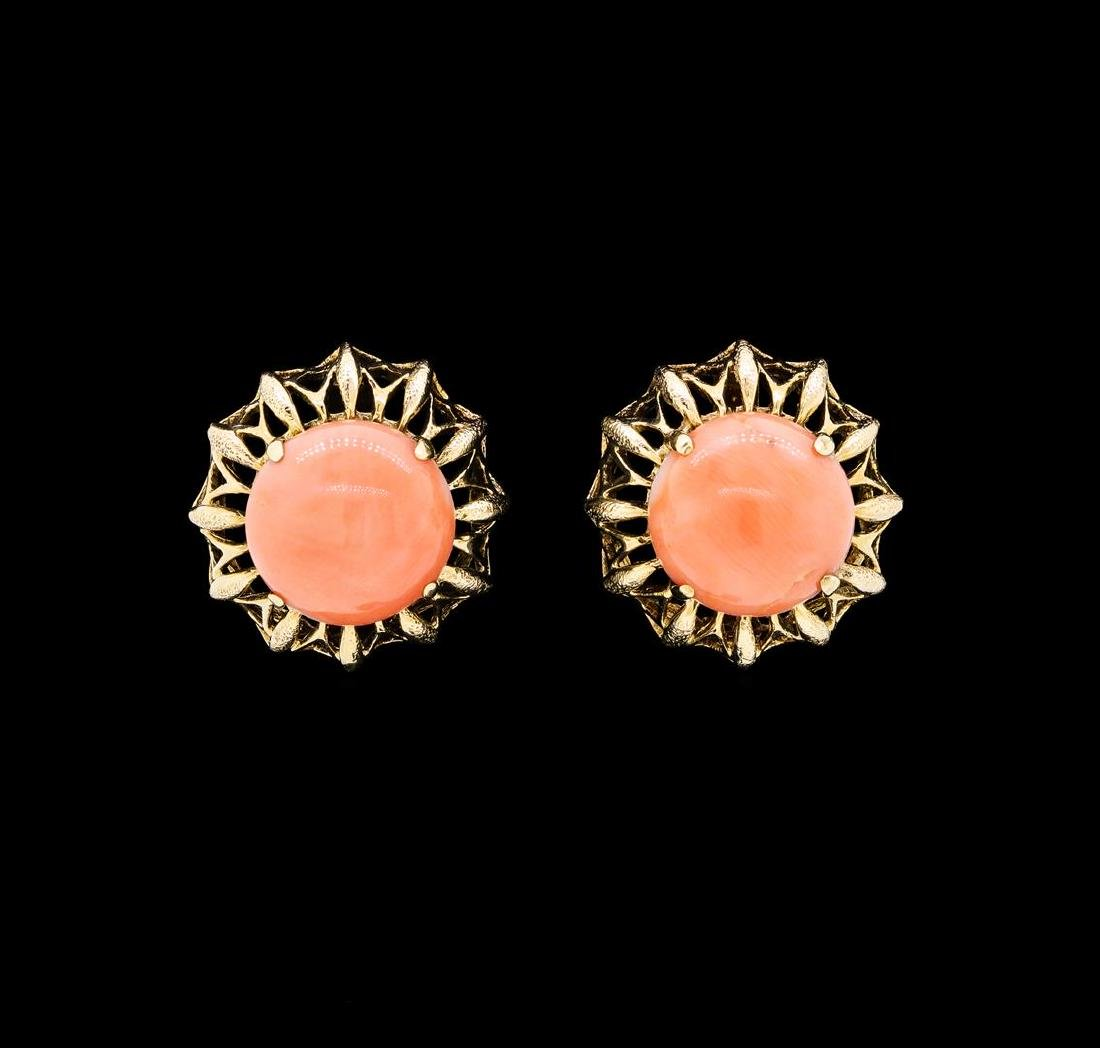 Salmon Coral Cabochon Earrings - 14KT Yellow Gold