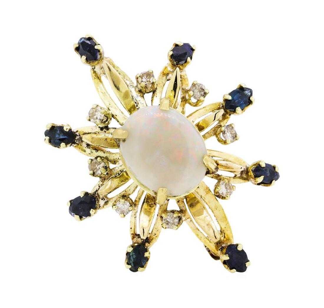 3.00 ctw Opal, Sapphire and Diamond Pin/Pendant - 14KT