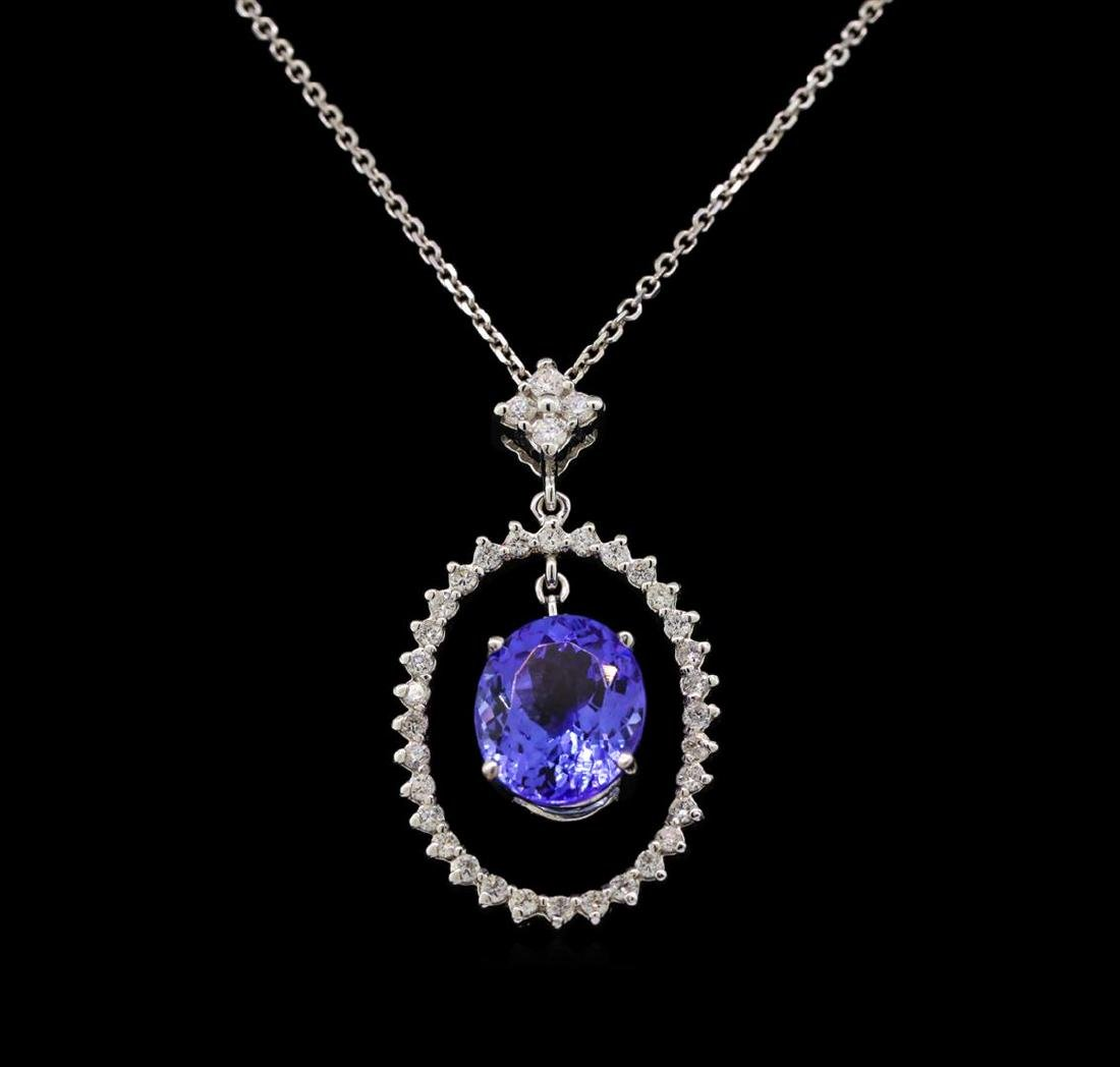 14KT White Gold 3.89 ctw Tanzanite and Diamond Pendant