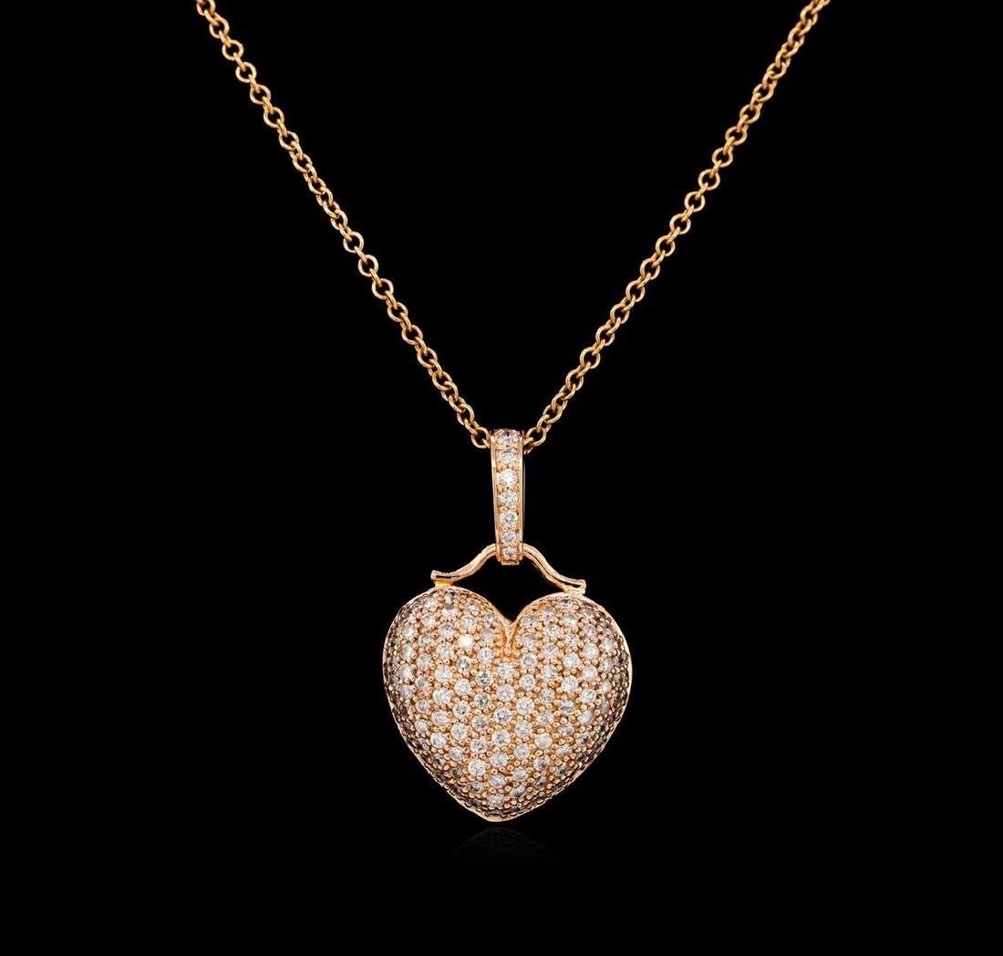 1.93 ctw Diamond Heart Pendant - 14KT Rose Gold