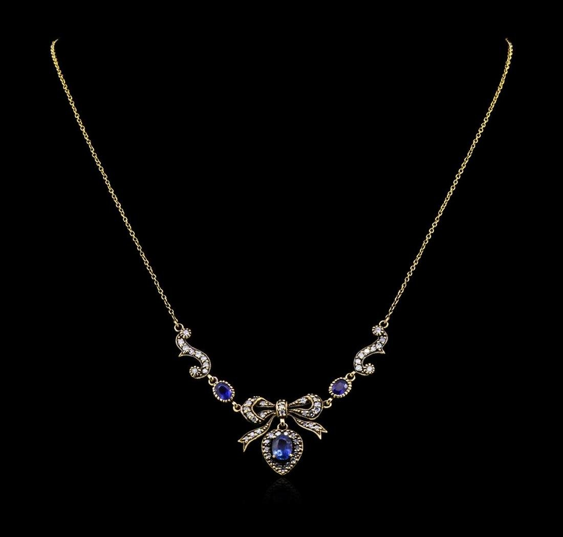 1.63 ctw Sapphire and Diamond Necklace - 18KT Yellow