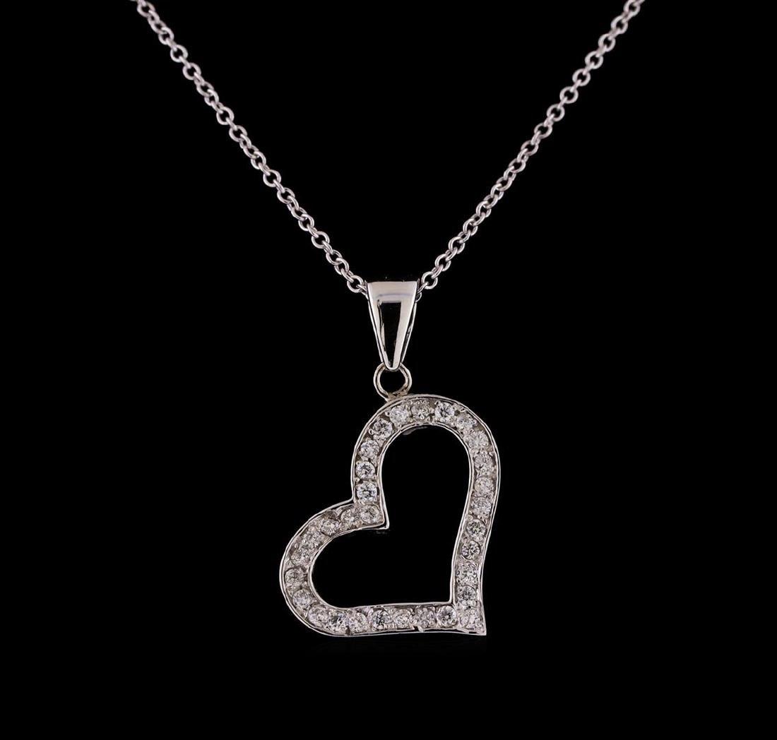 0.30 ctw Diamond Heart Pendant With Chain - 14KT White