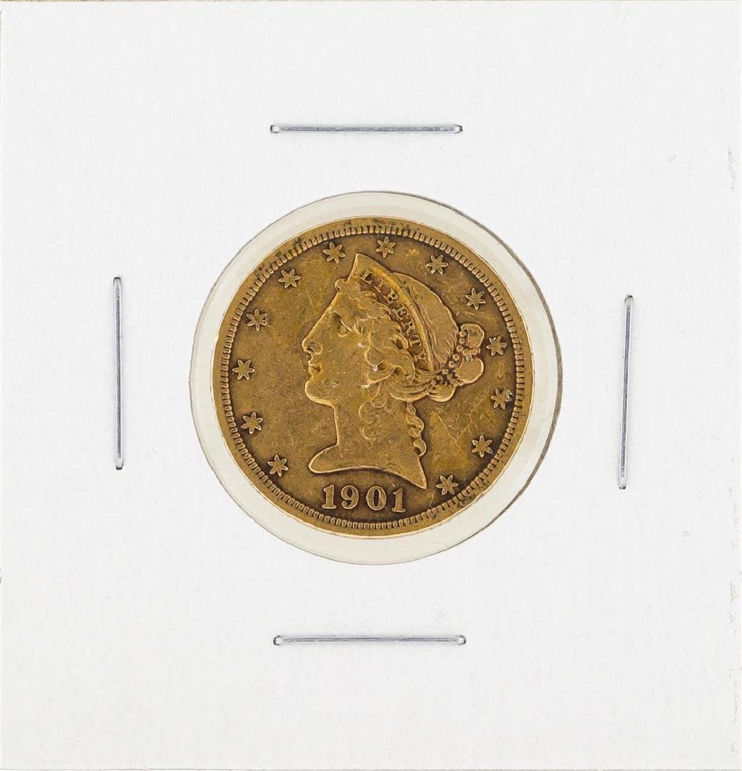 1901S $5 Liberty Gold Coin VF