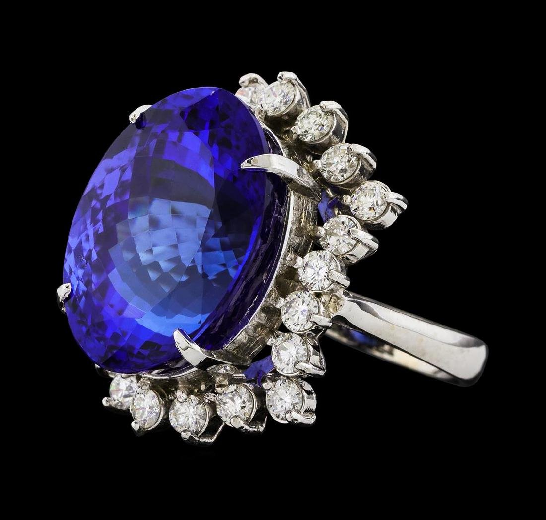 GIA Cert 22.45 ctw Tanzanite and Diamond Ring - 14KT