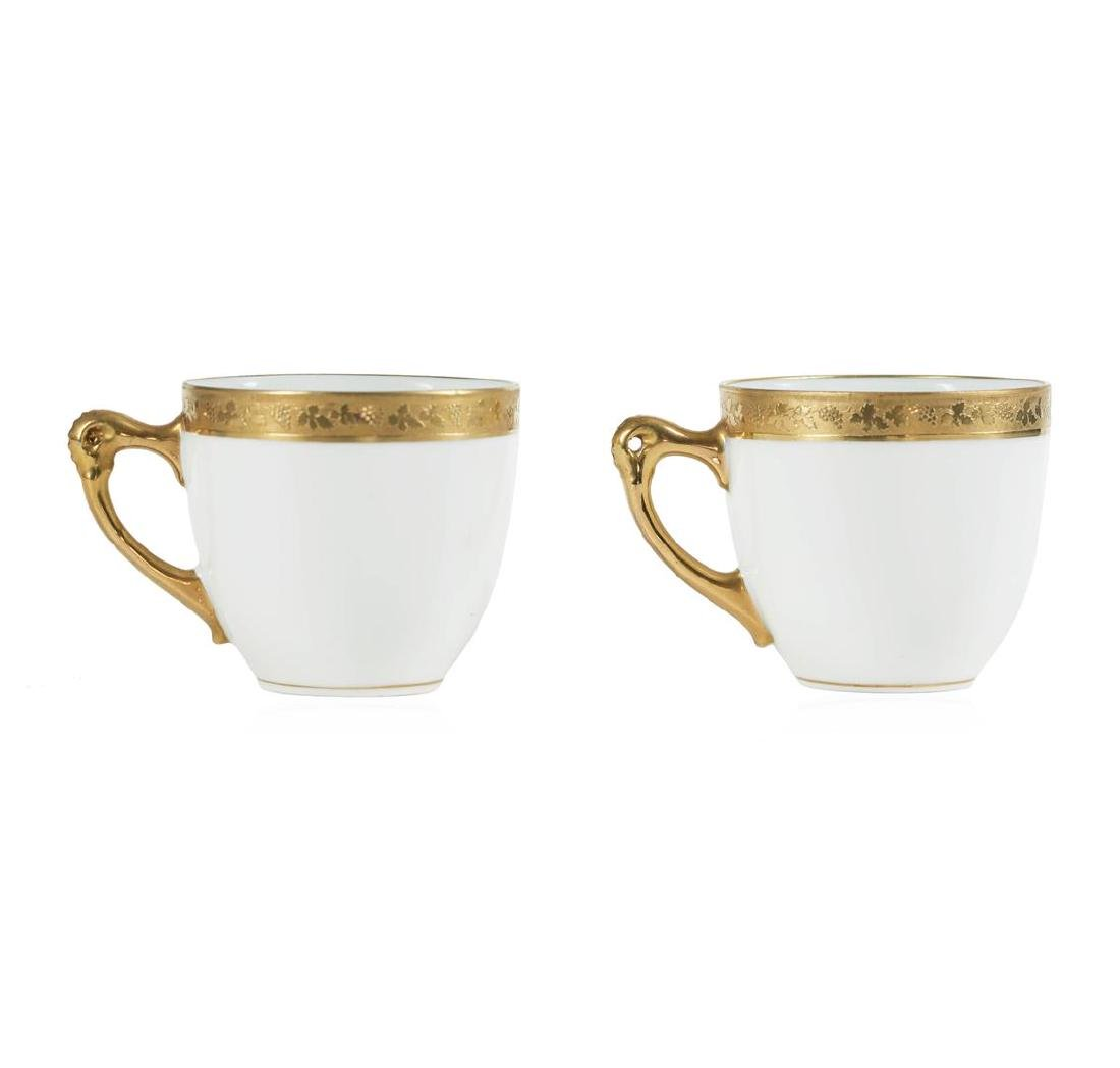 Two Royal Bayreuth Demitasse White Cups with Gold