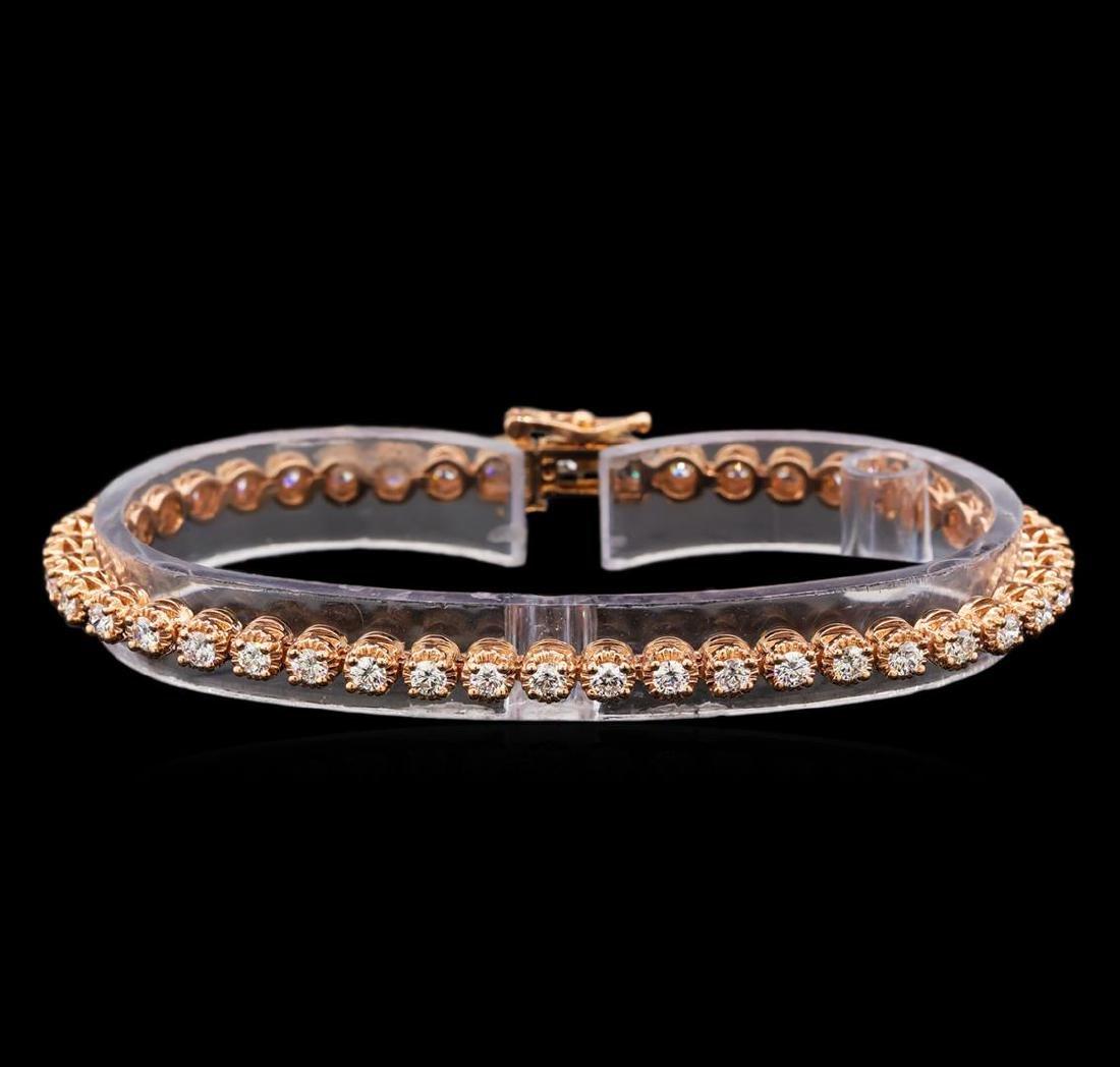 14KT Rose Gold 2.57 ctw Diamond Tennis Bracelet