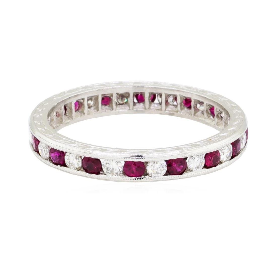 0.50 ctw Diamond and Ruby Eternity Ring - 14KT White
