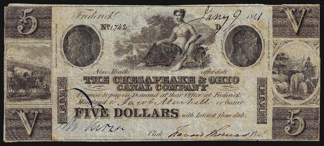 1841 $5 The Chesapeake & Ohio Canal Company Obsolete