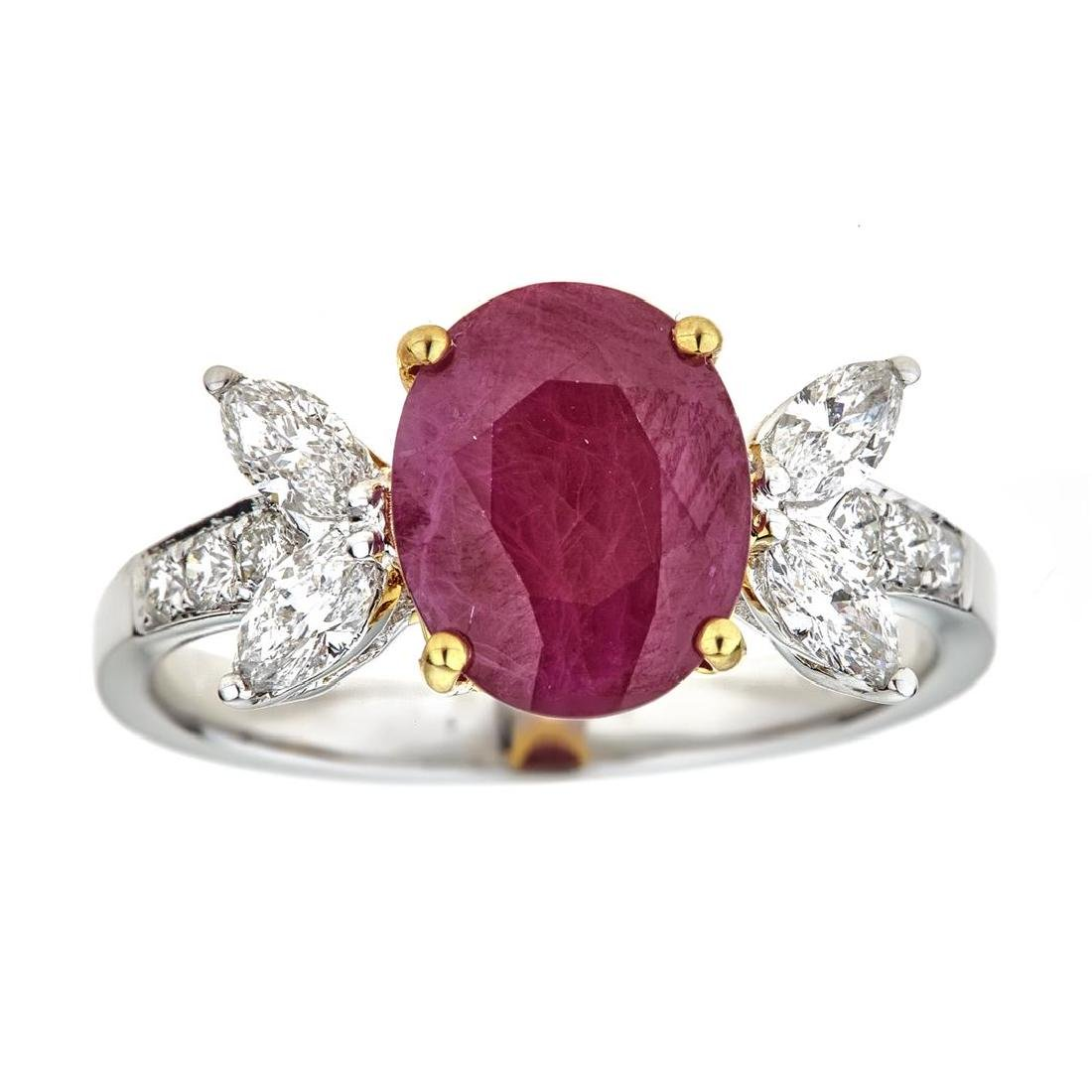 2.34 ctw Ruby and Diamond Ring - 18KT White and Yellow