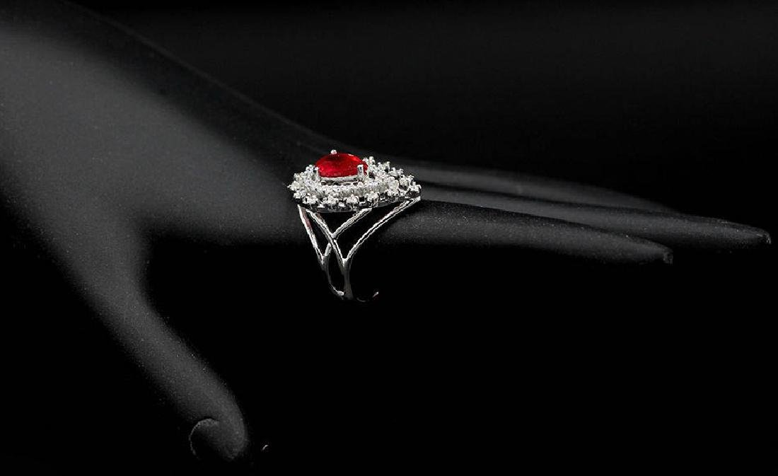 1.89 ctw Ruby and Diamond Ring - 14KT White Gold - 3