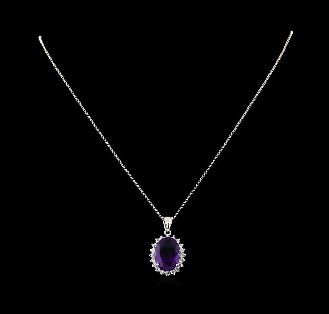 7.88 ctw Amethyst and Diamond Pendant With Chain - 14KT