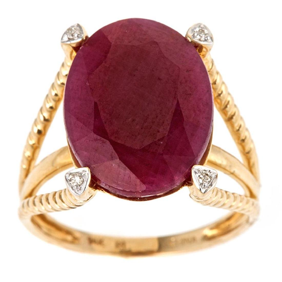 12.48 ctw Ruby and Diamond Ring - 14KT Yellow Gold