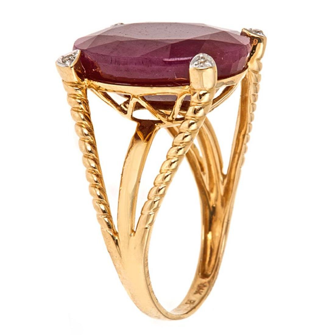 12.48 ctw Ruby and Diamond Ring - 14KT Yellow Gold - 2