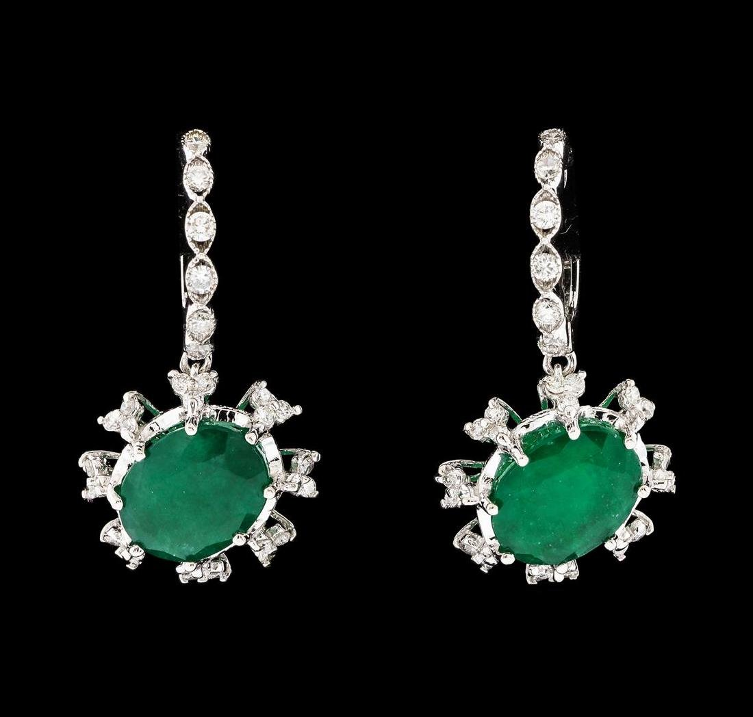 6.27 ctw Emerald and Diamond Earrings - 14KT White Gold