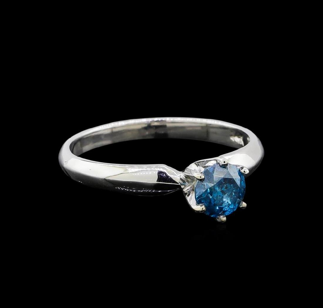 14KT White Gold 0.68 ctw Round Cut Fancy Blue Diamond