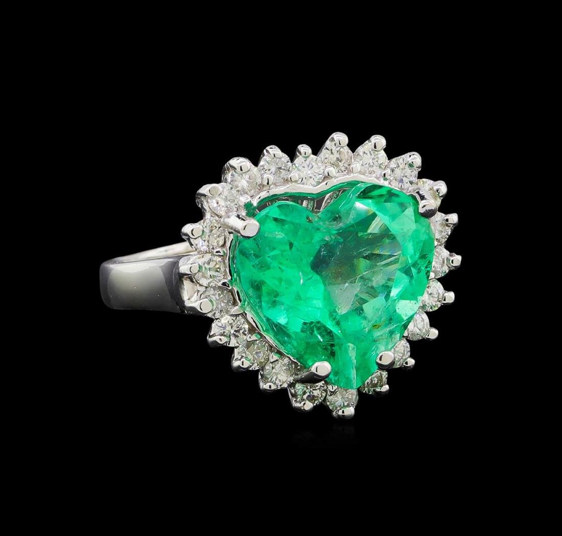 GIA Cert 6.11 ctw Emerald and Diamond Ring - 14KT White