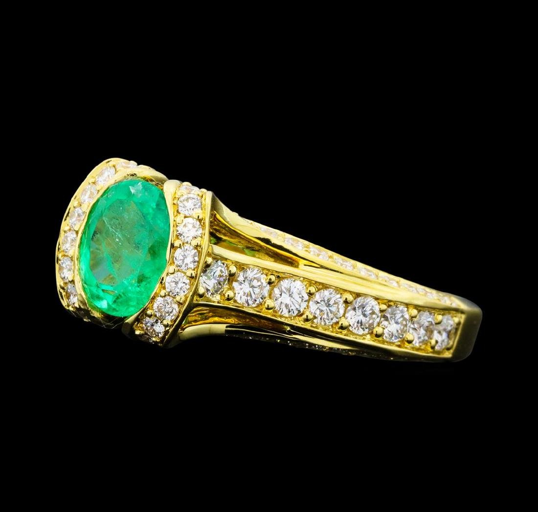 1.04 ctw Emerald And Diamond Ring - 18KT Yellow Gold