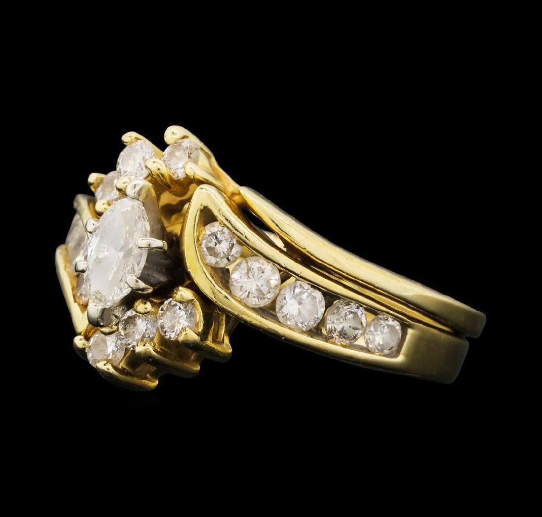 1.14 ctw Diamond Ring & Wedding Band - 14KT Yellow Gold