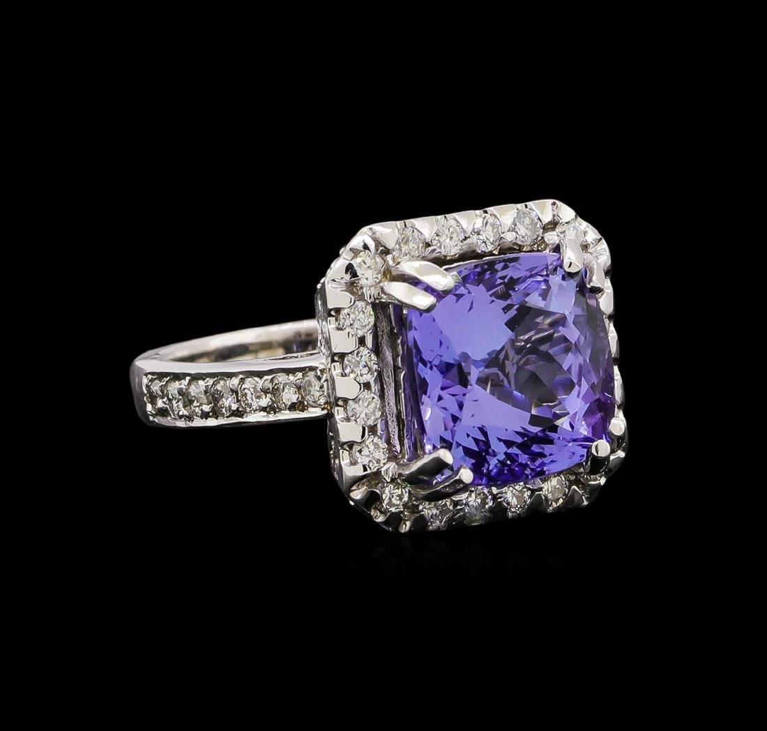 14KT White Gold 4.73 ctw Tanzanite and Diamond Ring