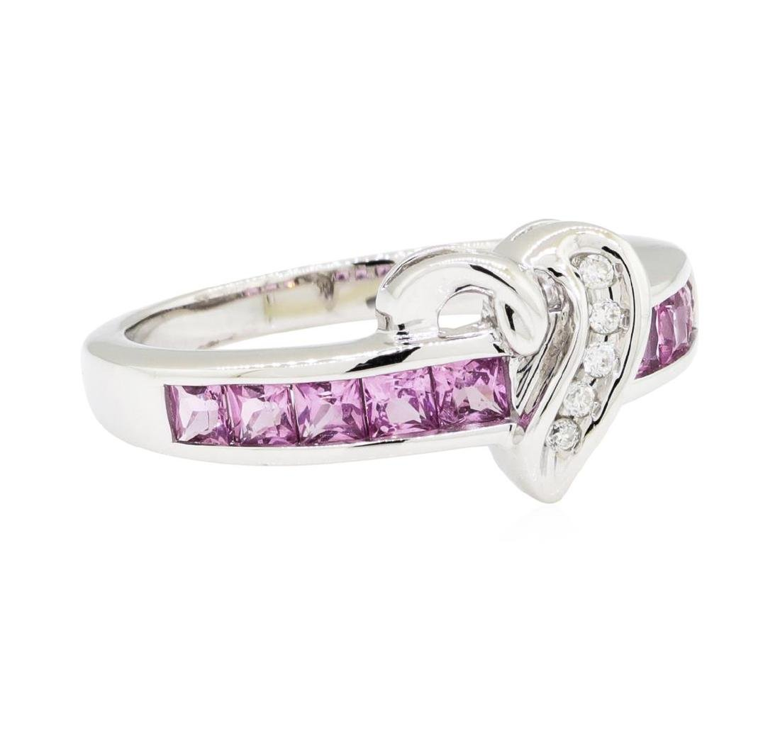 0.50 ctw Pink Sapphire and Diamond Ring - 10KT White
