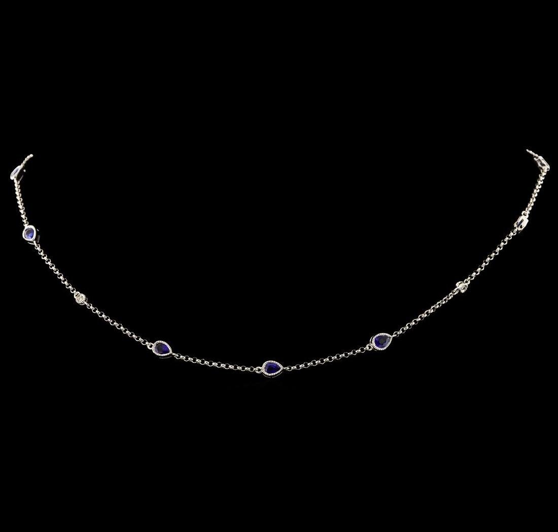 1.88 ctw Blue Sapphire and Diamond Necklace - 18KT