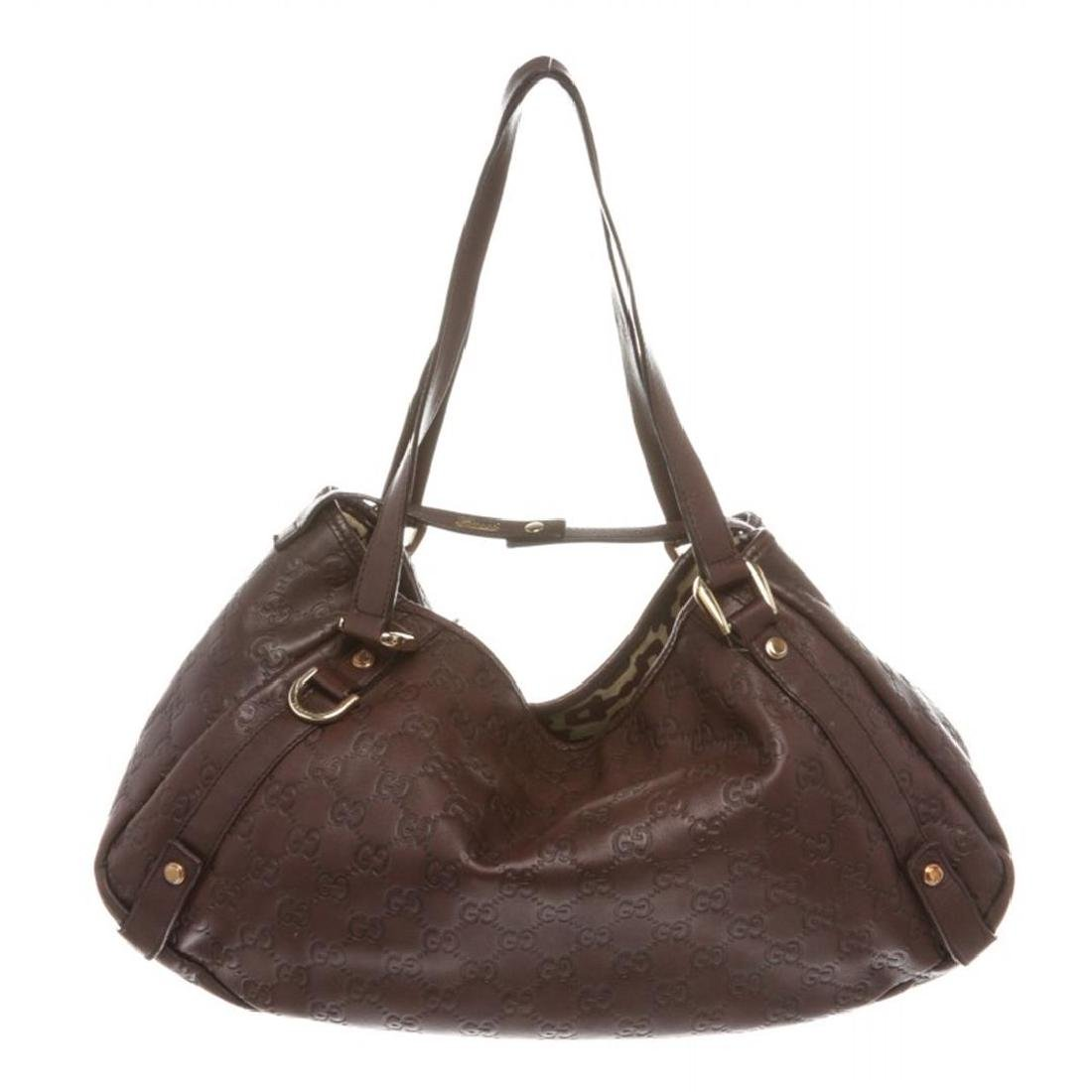 Gucci Burgundy Leather Guccissima Abbey Medium Tote Bag