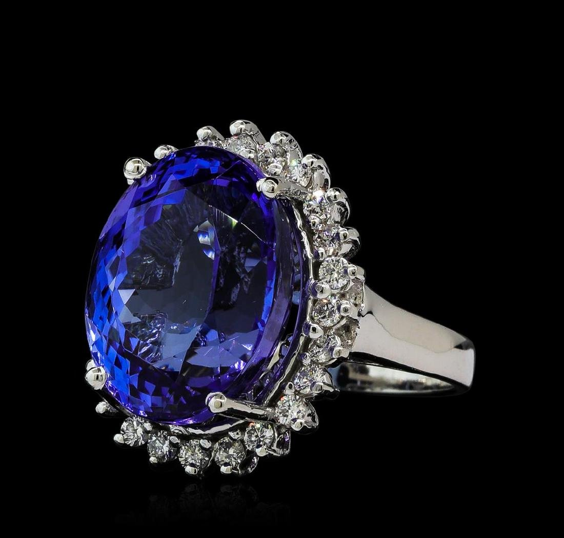 16.57 ctw Tanzanite and Diamond Ring - 14KT White Gold