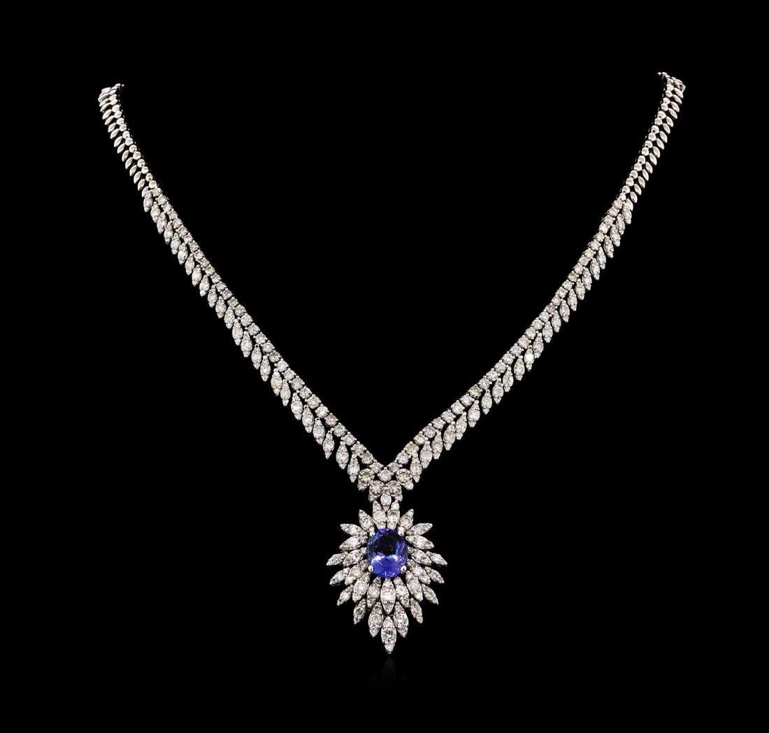 14KT White Gold 3.87 ctw Tanzanite and Diamond Necklace